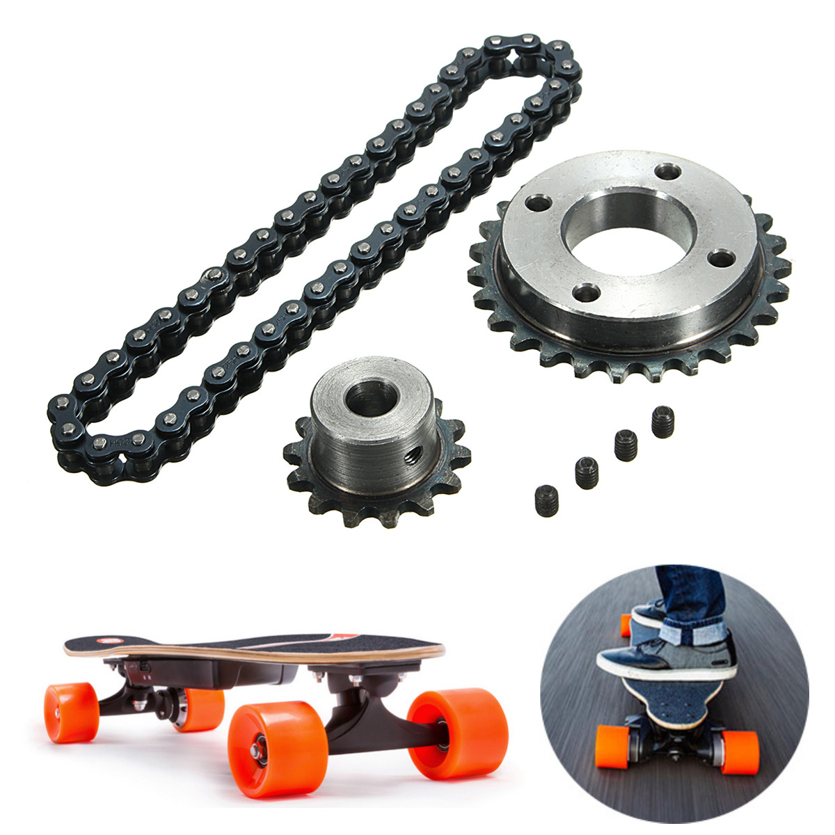 DIY Sprocket Chain Wheel for Electric Longboard 8044 Skateboard Repalcement Part Skateboard Accessories-in Skate Board from Sports & Entertainment
