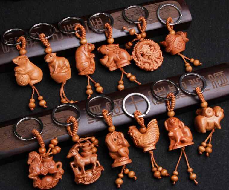 Gỗ gụ Ba Chiều Khắc Keychain Sống Động Như Thật dấu hiệu Hoàng Đạo Keyring quà tặng cho bạn bè phụ nữ đàn ông jewelry xe keychain