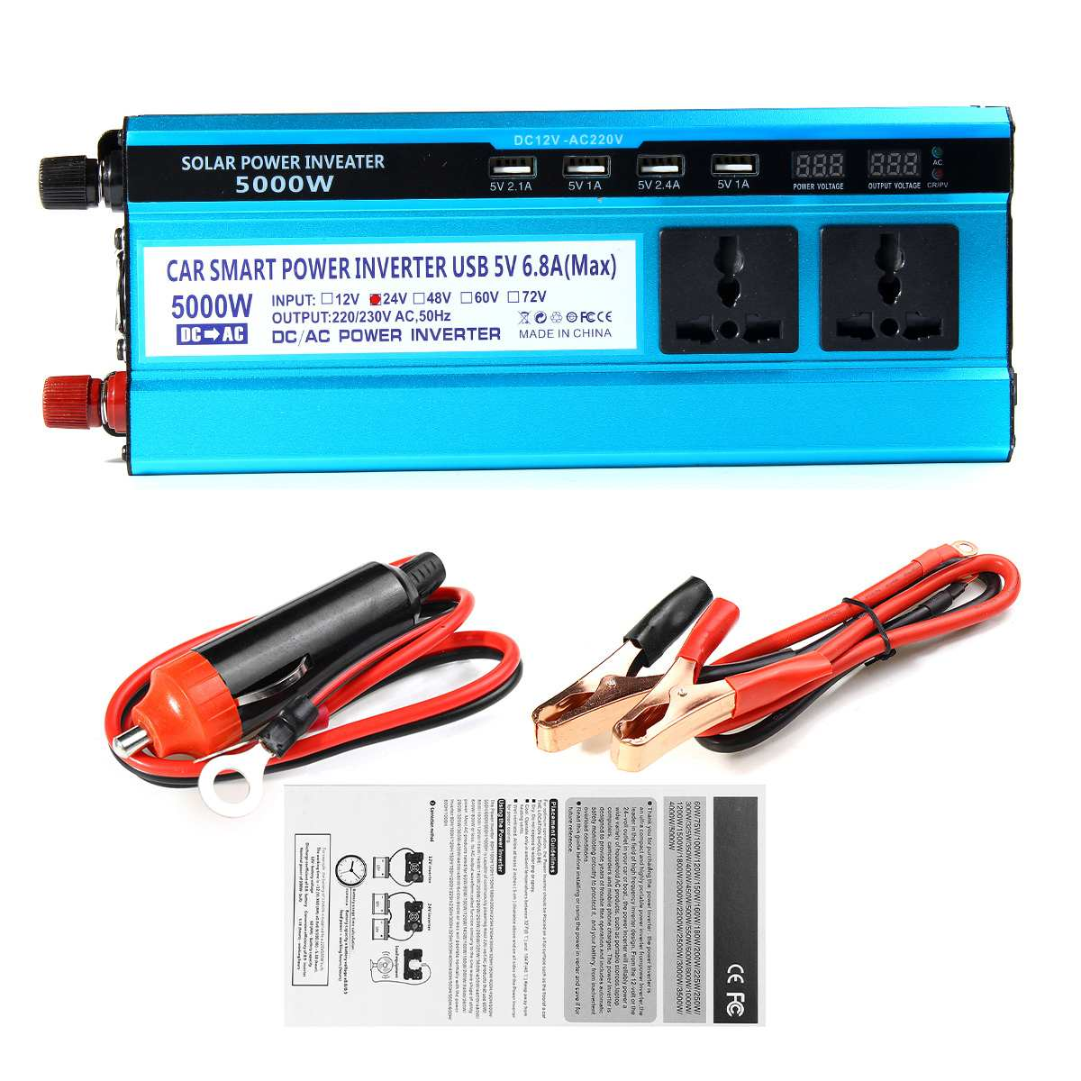 Image 5 - Solar Inverter DC 12V 24V 48V to AC 220V 3000W 4000W 5000W Inverter Voltage Transformer Converter 4 USB LED Display for Car Home-in Inverters & Converters from Home Improvement