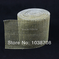 Promotion Plastic Mesh Trimming 24 Rows Sew On High Quality 4mm Golden 10y Roll Silver Base