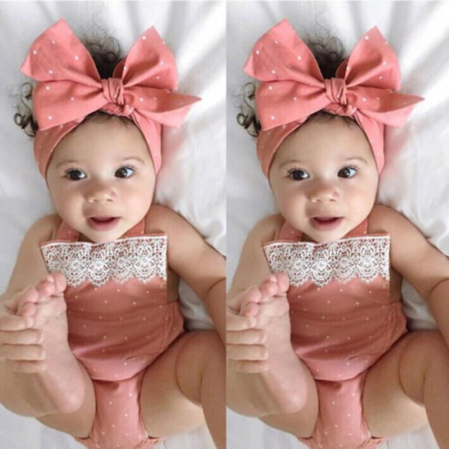 TELOTUNY 2018 Summer new born baby clothes Toddler Baby Girls Romper Jumpsuit Playsuit Infant Headband Clothes Outfits Set a12