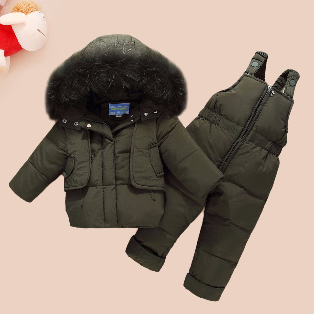 WENWENDEXINGFU Children Winter Clothing Sets Baby Girls Boys Clothes Suits Duck Down Warm Thicken Coats Bib Pants Infant Costume hylkidhuose 2018 baby girls boys winter clothes suits children clothes suits white duck down thicken coats bib pants kids suits