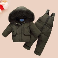 WENWENDEXINGFU Children Winter Clothing Sets Baby Girls Boys Clothes Suits Duck Down Warm Thicken Coats Bib Pants Infant Costume