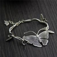 C&R Real S925 Sterling Silver Bracelet for Women Butterfly Charm Bracelet Thai Silver Handmade Bracelets Fine Jewelry