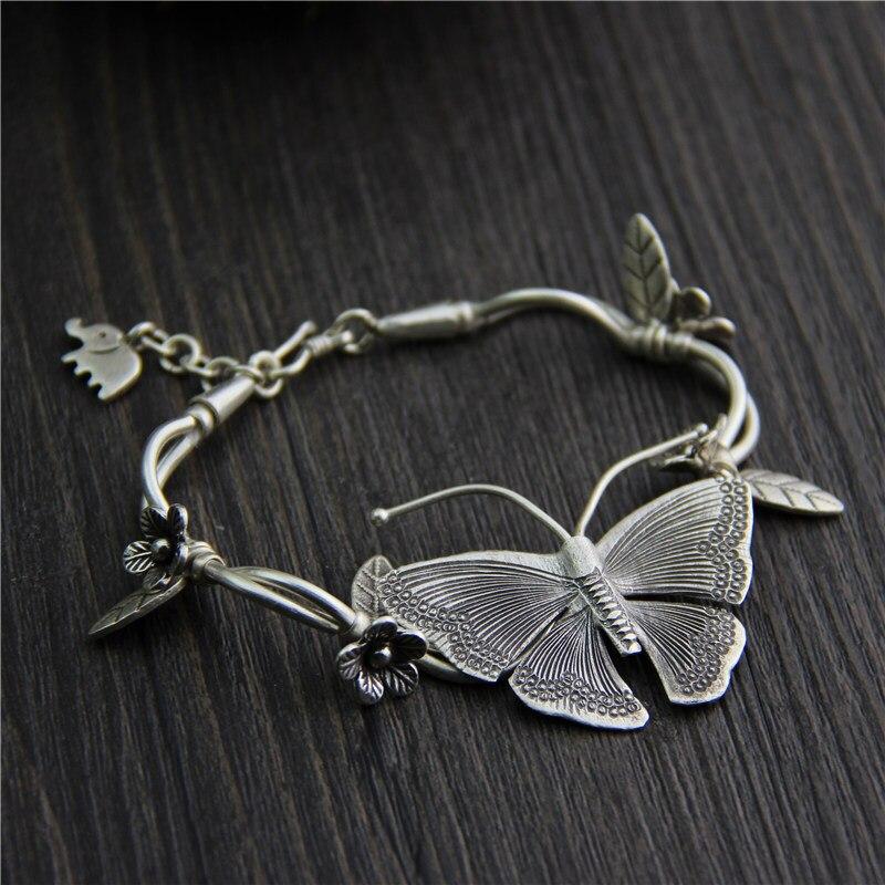 C & R Real S925 Bracelet en argent Sterling pour femmes papillon Bracelet à breloques Thai argent fait à la main Bracelets bijoux fins