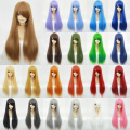24colors 70cm Long Straight Hair Full Lace Synthetic Cosplay Natural Daily Wigs Heat Resistant costume show False hair 1-16#