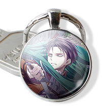 Anime Attack on Titan Levi Rivaille Ackerman Eren Emblem Scouting Legion Pendant Glass Cabochon Keychain Key Ring