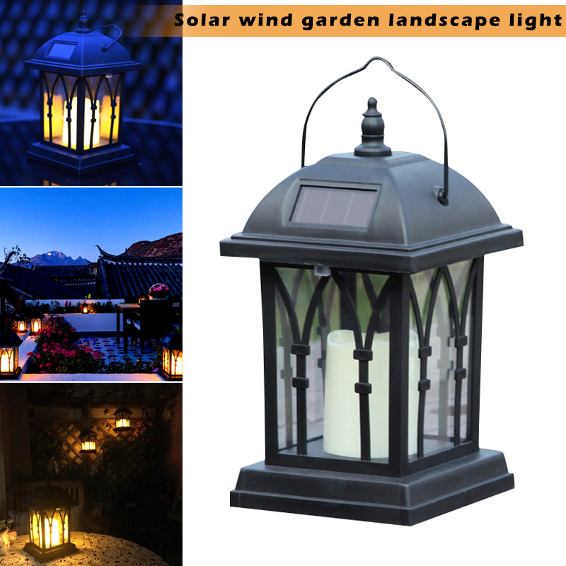 Solar Power Waterproof LED Candle Light Outdoor Garden Lawn Hanging Lantern Lamp ALI88 outdoor solar power led candle light yard garden decor tree palace lantern light hanging wall lamp clh 8