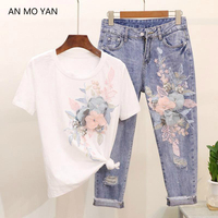 russia High Quality Women's Two Piece Set 2018 New Fashion Embroidery Sequins Harajuku Suit Stereo Flowers Sweet Style Clothing