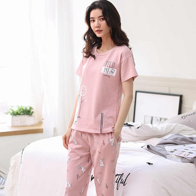 d0501532c2 Cute Rabbit New 2018 Cotton Pajamas Women Girls Pajama Set Short Sleeve  Elastic Waist Capris Sleepwear