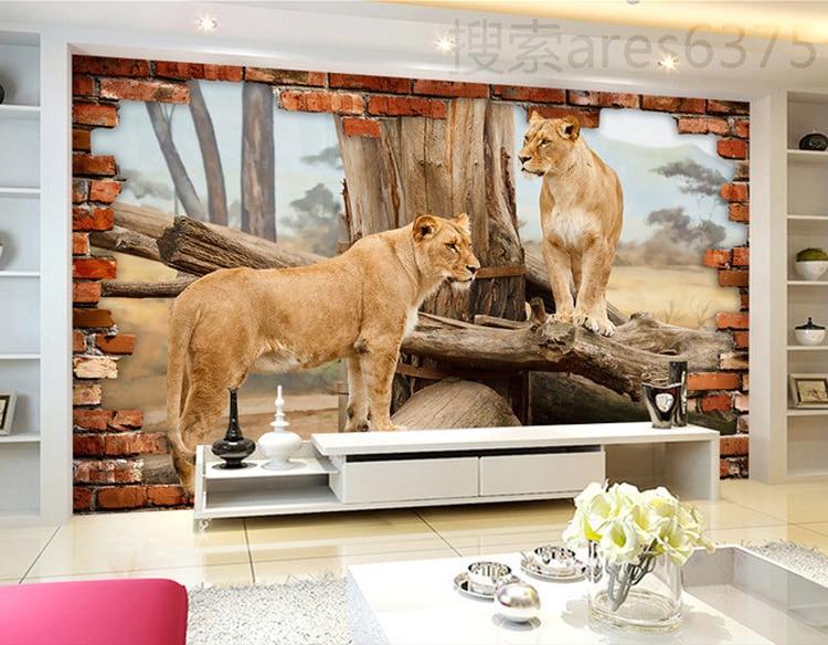 3d Lion Wallpaper Custom Photo Wallpaper Animal Wall Mural Unique