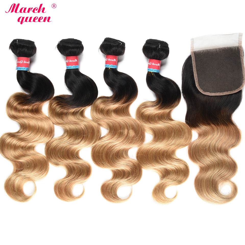 March Queen Ombre Peruvian Human Hair Bundles With 4x4 Lace Closure T1B 27 Body Wave 4