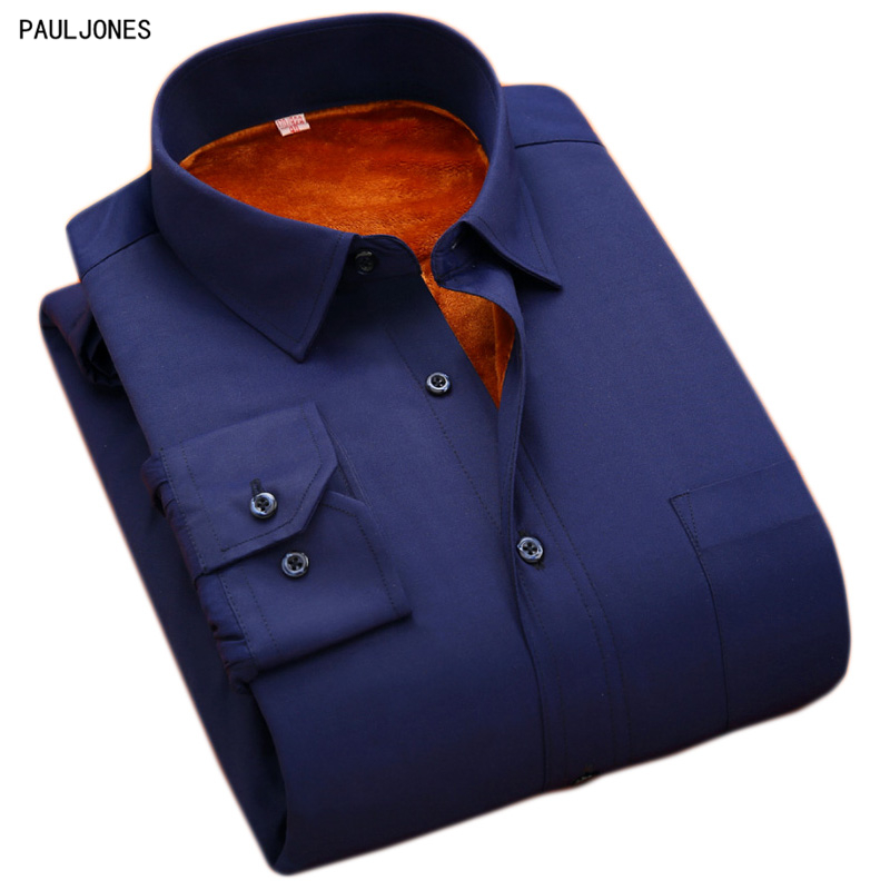 PAULJONES 플러스 사이즈 8XL 5XL 6XL 망 솔리드 드레스 셔츠 따뜻한 긴 소매 벨벳 열 캐주얼 겨울 큰 사이즈 망 셔츠 M1xxx