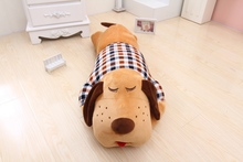 new creative middle plush brown dog pillow cute check cloth dog doll gift about 85cm