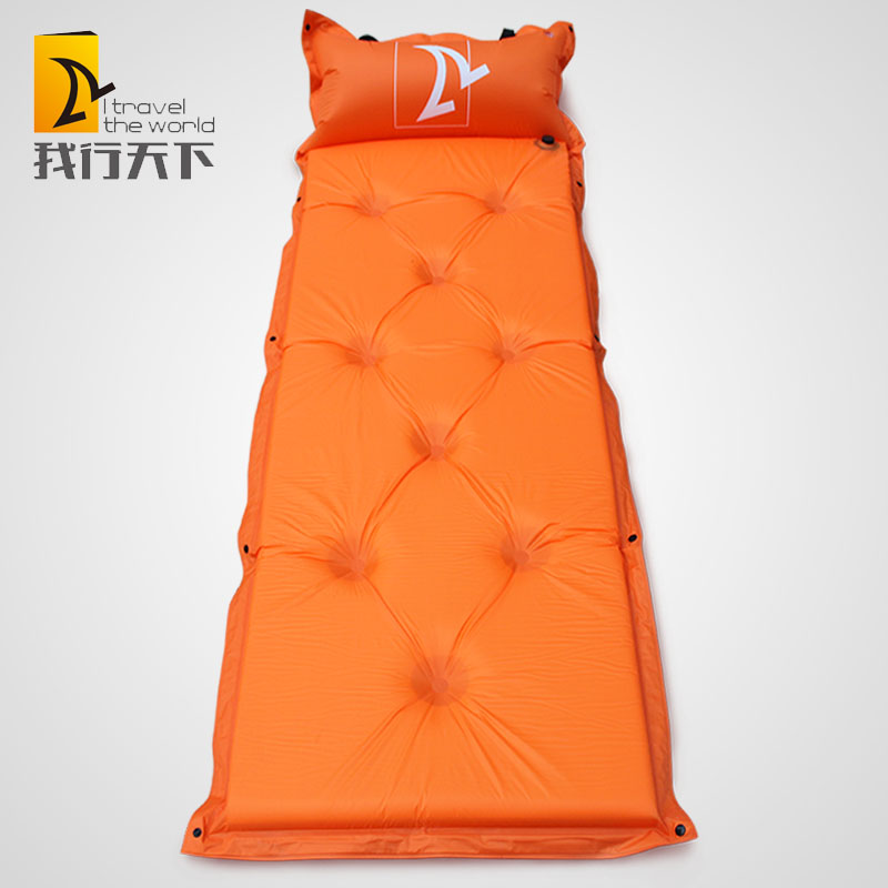 Self double camping mat inflating