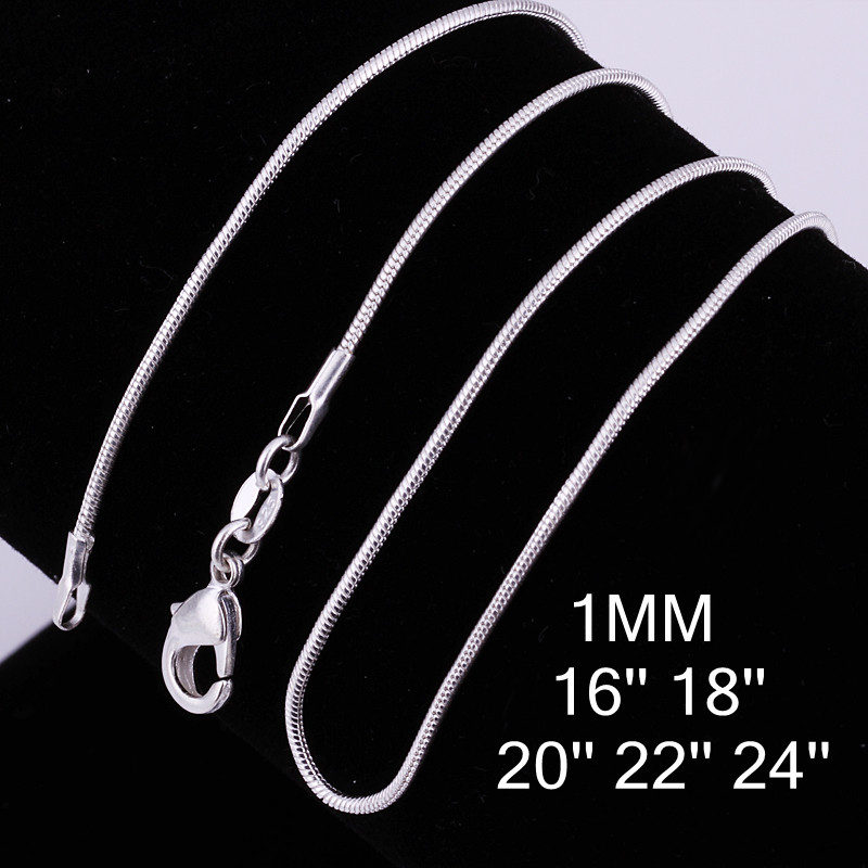 5 st / parti grossist 925 sterling silver halsband, silver mode smycken Snake Chain 1mm halsband 16 18 20 22 24 ""