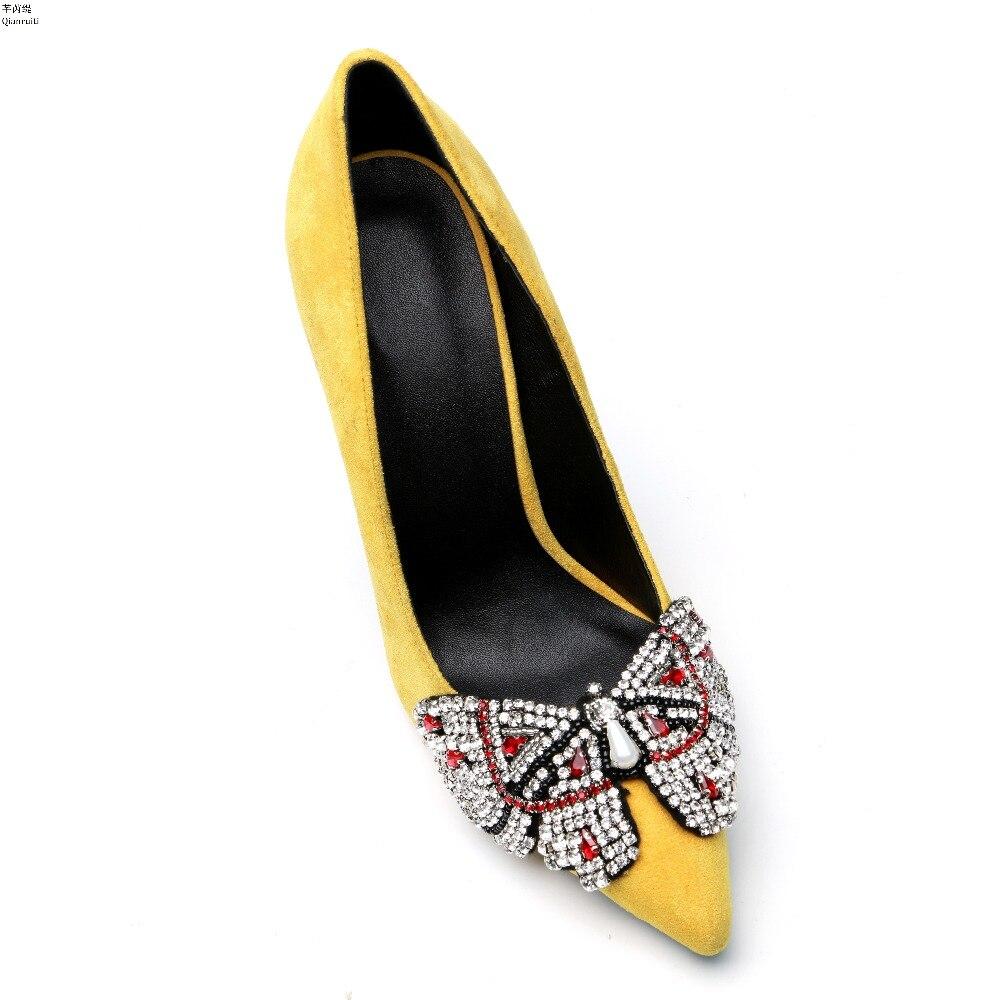cravate Bout Haute Jaune Les Talons Sur Pointu Chaussures Slip Suede Parti Cloutés Pompes Arc Stiletto Femmes Cristal Qianruiti 1zw7Rwp