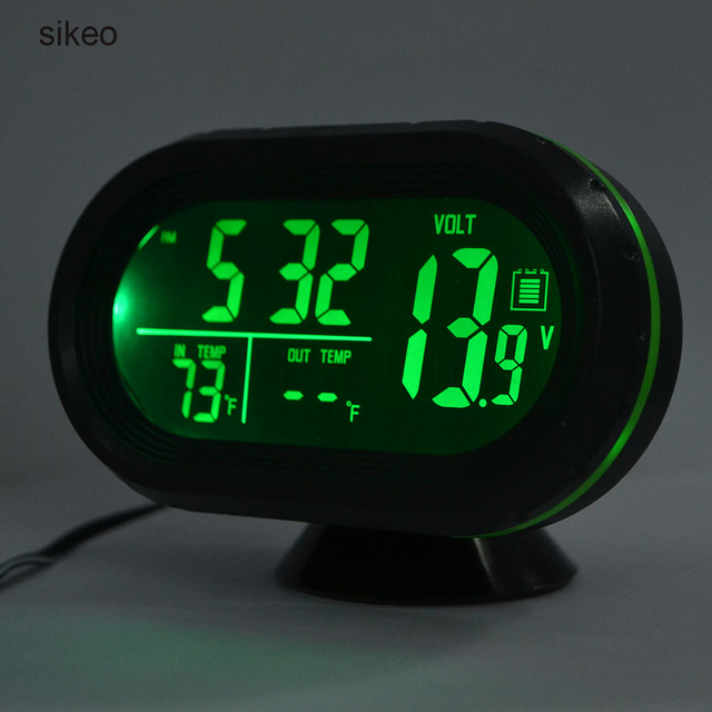 sikeo Car Thermometer Digital Clock DC12-24V Automobile Clock LED Lighted Auto Dual Temperature Gauge Voltmeter Voltage Tester