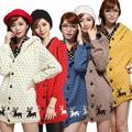 Free Shipping Women Cardigan Sweater Coat Deer PatternThick Velvet Hooded Outerwear