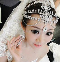 New Design Free Shipping Luxurious Teardrop Czech Crystal Frontlet Bridal Wedding Hair Accessories Jewelry