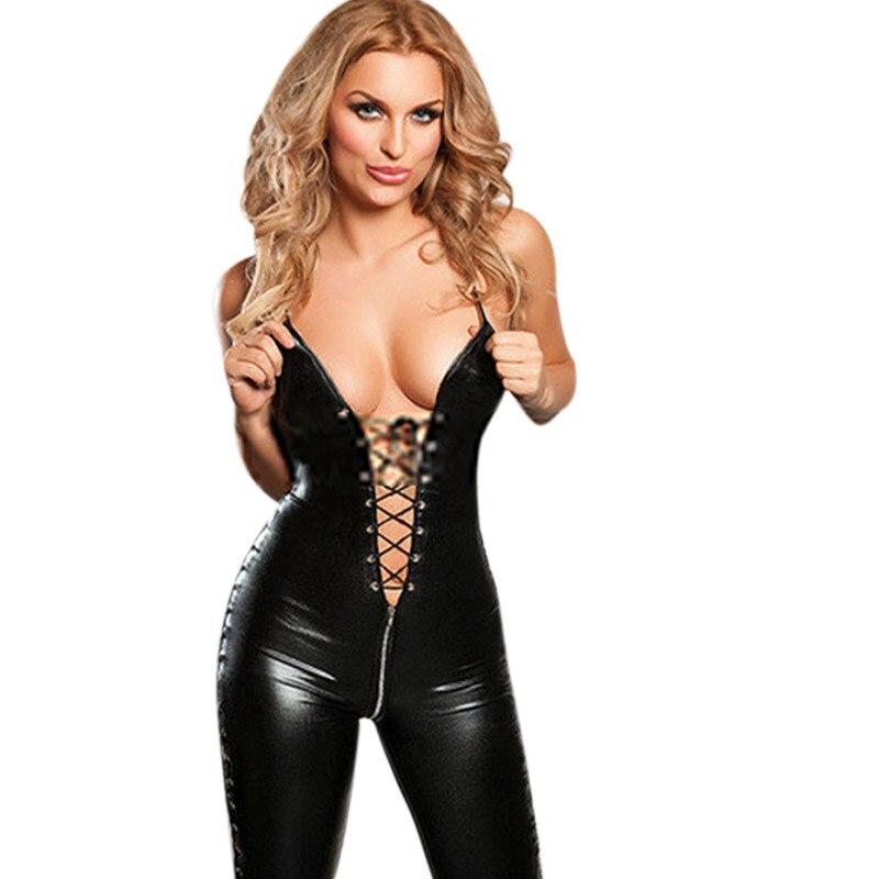 Recém Sexy Mulheres de Lingerie de Couro PVC Preto Bodysuit Zíper Virilha Aberta Macacão Clubwear Sexo Jogo de Dança Uniformes Papel
