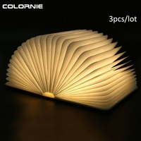 3pcs/Lot Wooden Foldable LED Nightlight Booklight&LED Folding Book Lamp,USB Rechargeable for Decor Desk/Table/Wall Magnetic Lamp