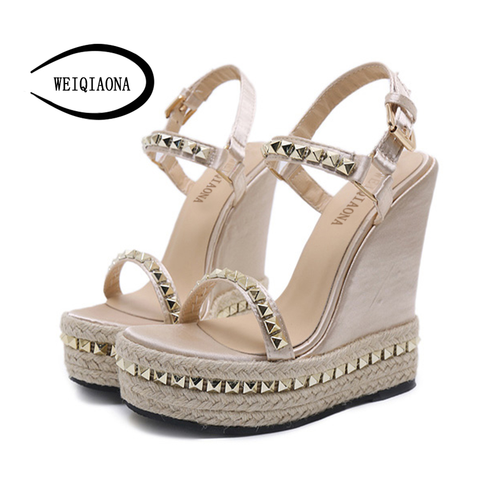 WEIQIAONA 2018 New Casual Summer Women's shoes Sexy Rome Gold Rivet High Heel Wedges Heels Platform Leather Sandals party shoes facndinll new women summer sandals 2018 ladies summer wedges high heel fashion casual leather sandals platform date party shoes