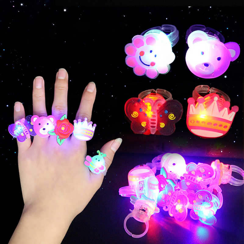10pcs/lot Color Random Kids Toy Led LED Flashing Light Ring Flashing Party Soft Rave Glow Jelly Finger Rings Party Favor
