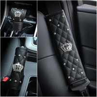 4 Pcs Full Set Luxury Seat Belt Gear Stick Handbrake Cover Rhinestone Covered Car Styling Women
