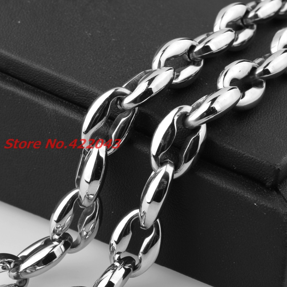 Wholesale Retail! 7-40 Length 316L Stainless Steel Silver Polished Coffee Beads Bean Link Chains Neklace Bracelet Men Womens