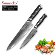 SUNNECKO 2PCS Kitchen Knives Set Utility Chef Knife Japanese Damascus VG10 Steel Razor Sharp G10 Handle Cooking Cutter Tools