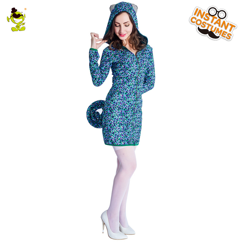 New Ladies Chameleon Costume Attach Hat Women's Cute Medium length Coat For Halloween Party cosplay girl's fancy dress