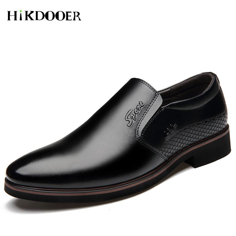 New Arrival Men Dress Slip On Shoes Pointed Toe Leather Flat Shoes Top Quality Formal Wedding Basic Shoes zapatos de hombre