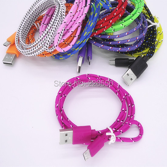 10pcslot Colorful New 1M Fabric Nylon Braided Micro USB Cable for Samsung For Blackberry for HTC Cloth braided cable