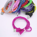 10pcs/lot Colorful New 1M Fabric Nylon Braided Micro USB Cable for Samsung For Blackberry for HTC Cloth braided cable