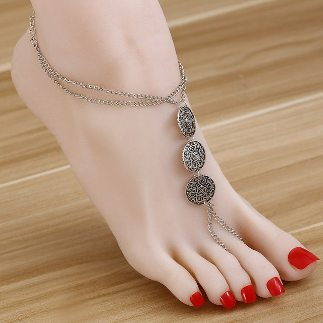 Antique Women Summer Foot Jewelry Vintage Turkish Silver Stamped Coin Slave  Chain Toe Beach Tribal Sandals Anklet Feet Girl
