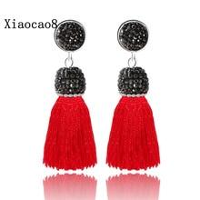 Trendy Short Tassel Dangle Earrings for Women Vintage Jewelry Bohemian Drop Earrings with Nature Pearl Women Tassels Earring