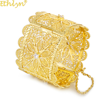 Ethlyn Dubai Cooper Gold Color Wide Luxury Big Bangle Women  African Wedding Bracelets Zircon Tension Setting B98