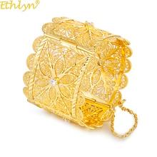 Ethlyn دبي كوبر الذهب اللون واسعة الفاخرة كبيرة الإسورة النساء الزفاف الأفريقي أساور الزركون التوتر الإعداد B98