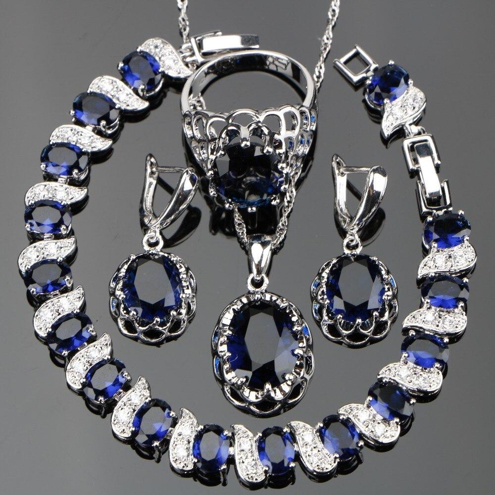 Einzigartige Beeindruckende Blau Zirkon Kristall Ring Größe 6 #7 #8 #9 #10 # Freies Geschenk Box 925 Sterling Silber Schmuck Set Für Frauen W176 Elegant Im Stil Hochzeits- & Verlobungs-schmuck Brautschmuck Sets