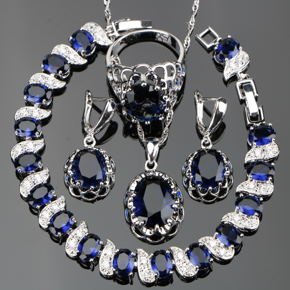 Silver 925 Costume Blue Zircon Jewelry Sets Women Wedding Jewellery With Bracelets Earrings Pendant Necklaces Rings Set Gift Box silver 925 costume wedding black zircon jewelry sets for women bracelets earrings rings pendant necklace set jewellery gift box