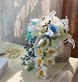 Tiffany Azul Bayas Cascada de La Boda Ramos de Flores Artificiales Ramo de Novia Broche Calla Lily Ramo De Novia Ramo de Gota de Agua