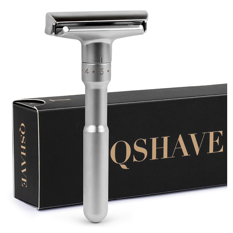 QSHAVE Adjustable Safety Razor Double Edge Classic Mens Shaving Mild To Aggressive 1-6 File Hair Removal Shaver It With 5 Blades