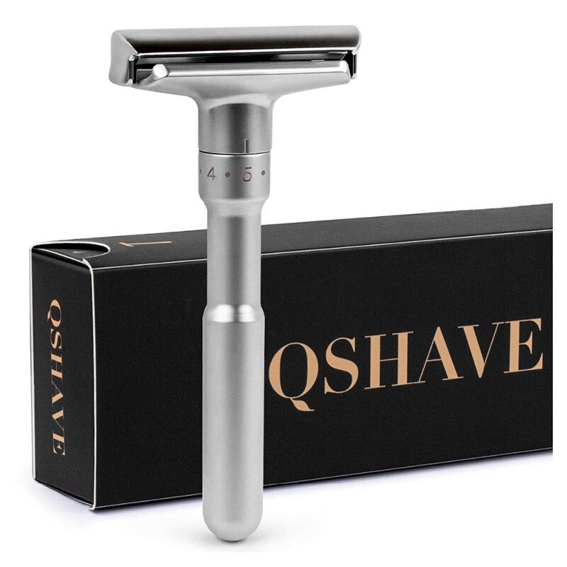 QSHAVE Einstellbare Sicherheits Razor Doppel Rand Klassische Herren Rasieren Mild zu Aggressive 1-6 Datei Haar Entfernung Rasierer es mit 5 Klingen