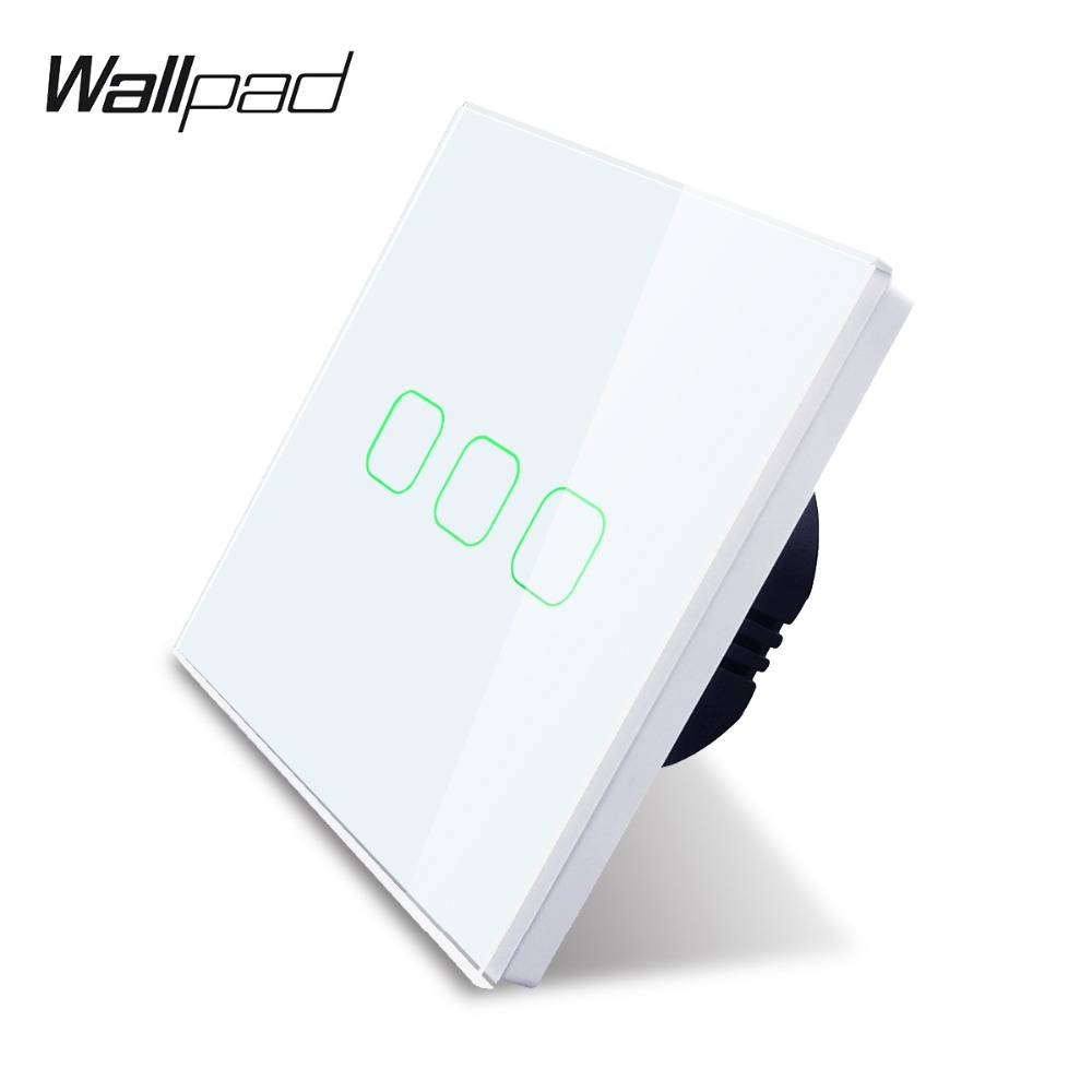 Wallpad K3 Glass Panel Touch Switch 3 Gang 1 Way Capacitive 4 Colors Wall Electrical Light Switch for UK EUWallpad K3 Glass Panel Touch Switch 3 Gang 1 Way Capacitive 4 Colors Wall Electrical Light Switch for UK EU
