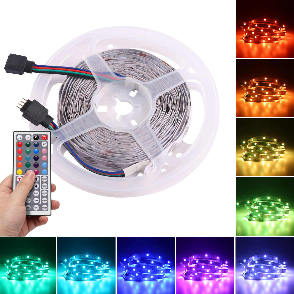 Pita LED 5 M/10 M RGB 5050 Multicolor LED Strip Lampu Tidak Tahan Air LED Strip 12 V dekorasi Kamar Tidur TV LED Strip dengan Remote