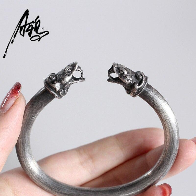 Уникальный 925 Серебряный Открытие браслеты змея браслет двойная голова браслеты в форме змеи браслет для женщины мужчины Шарм ювелирные из