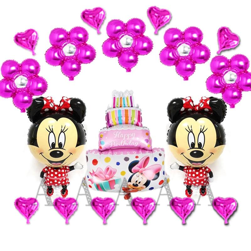 18pcs birthday balloons cartoon minnie mouse foil balloons for girl happy birthday party balloons including flower cake heart