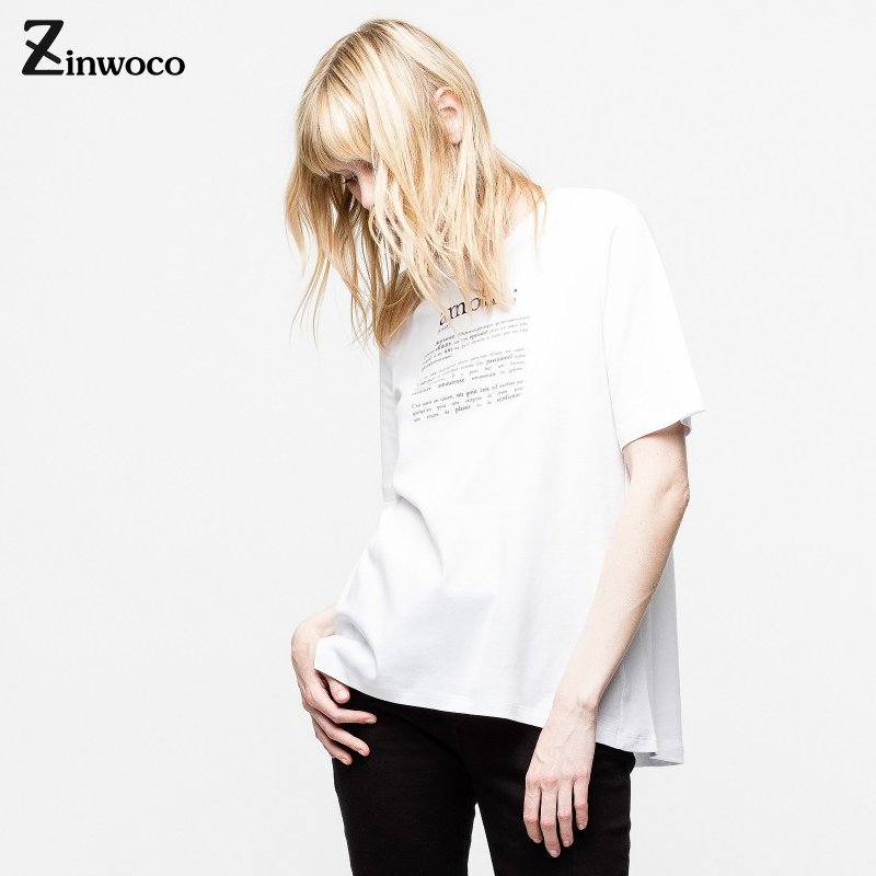Zinwoco Lettre T Chemise Coréenne Vêtements Blanc Femmes T-shirt teneur en coton 100% Haute Élasticité T chemise plus la taille Harajuku Femmes