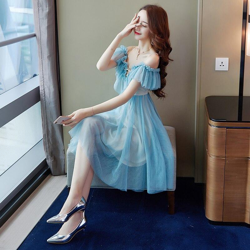 Women's Dress 2019 New Summer Sexy Off-shoulder Dress Fashion Slim Retro Strap V-neck Dress